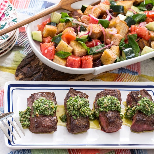 Top Round Steaks with Arugula-Walnut Pesto & Panzanella