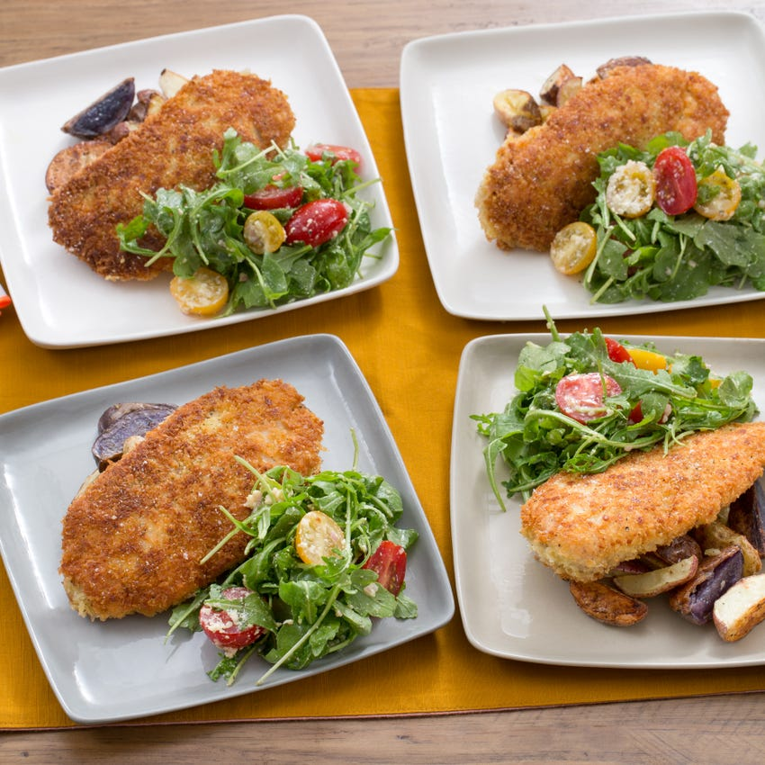 Parmesan-Crusted Chicken with Roasted Potatoes & Cherry Tomato-Arugula Salad