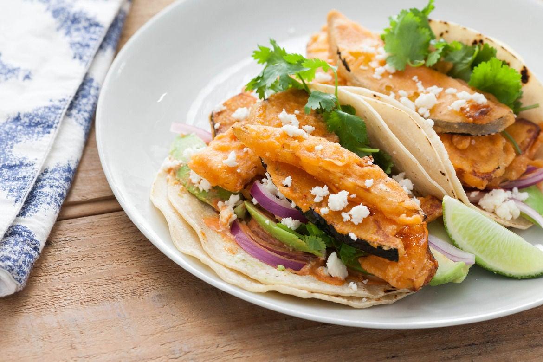 Acorn Squash Tempura Tacos with Smoked Paprika-Lime Sauce