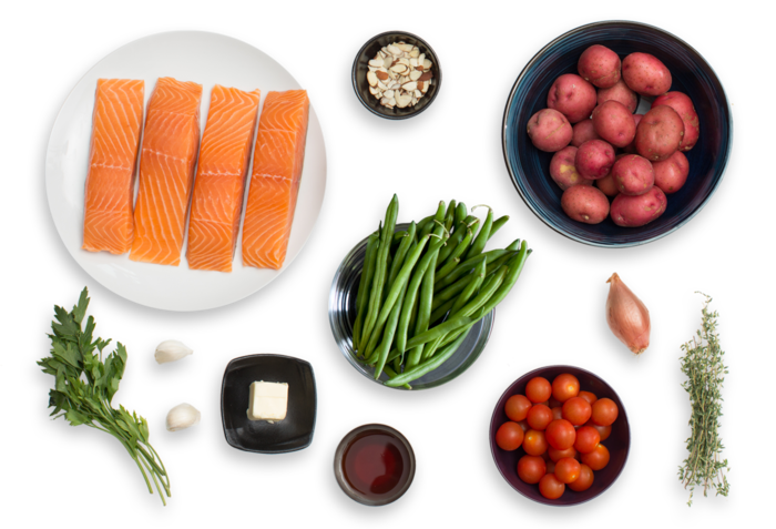 Seared Salmon & Roasted Potatoes with Sautéed Green Beans & Cherry Tomatoes ingredients