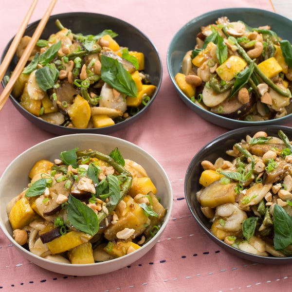 Summer Vegetable Korean Rice Cakes with Squash, Eggplant & Long Beans