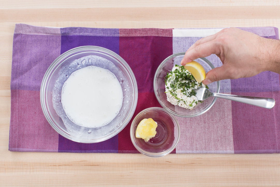 Make the coating mixture & yogurt sauce: