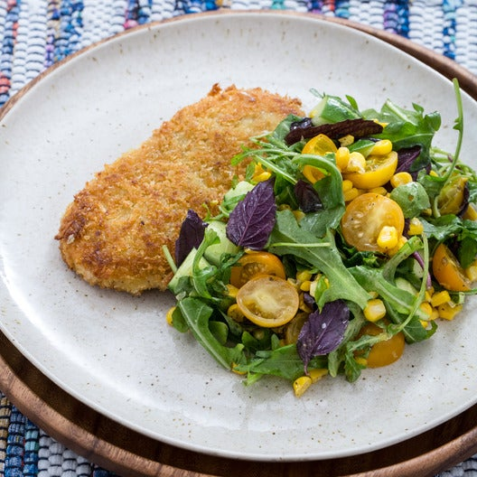 Chicken Milanese with Summer Corn, Tomato & Cucumber Salad