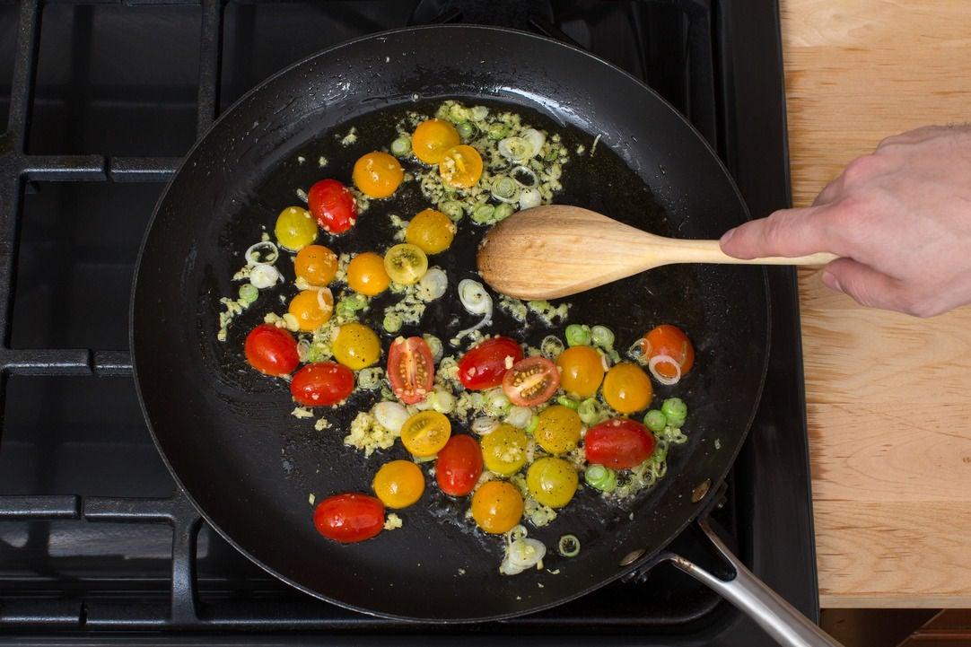 Cook the tomatoes & aromatics: