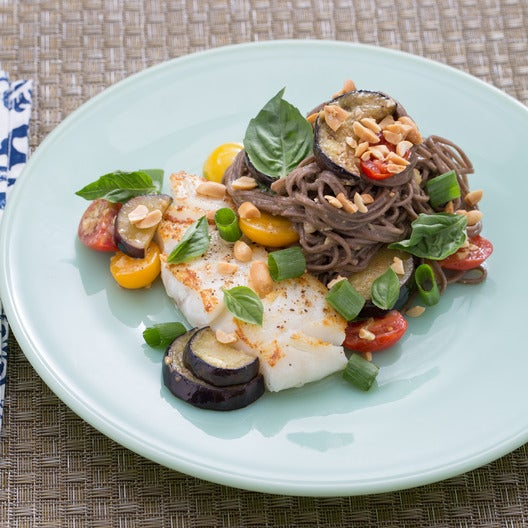 Cod & Miso Soba Noodles with Multicolored Cherry Tomatoes & Eggplant