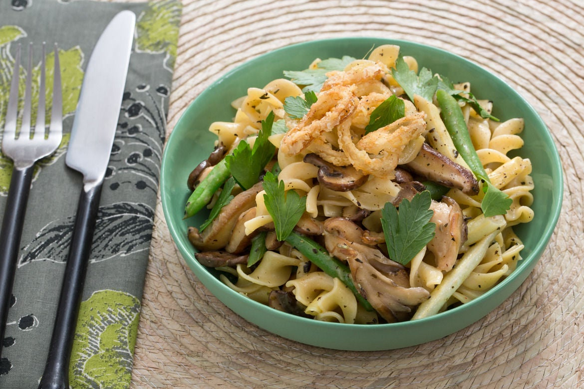 Summer Bean & Mushroom Pasta with Crispy Shallot Rings