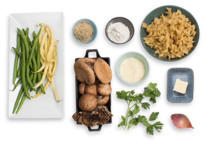 Mushroom, Wax Beans And Cheddar Pasta Bake Recipe — Dishmaps