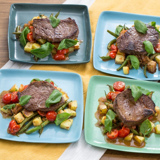 Sirloin Steaks & Roasted Potatoes with Green Beans & Cherry Tomatoes