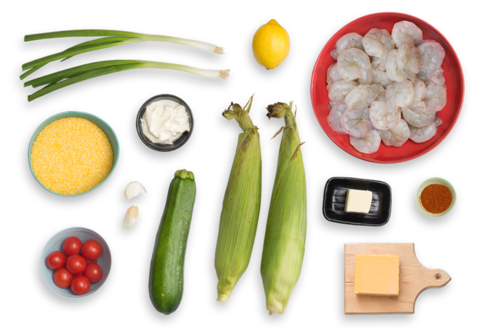 Smoky Shrimp & Creamy Cheddar Grits with Corn, Zucchini & Cherry Tomatoes