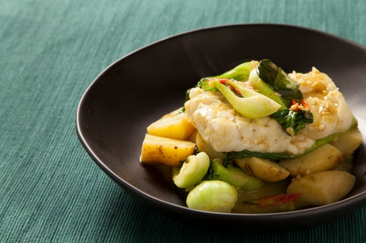 Cod Coconut Curry with Baby Bok Choy & Yukon Gold Potatoes