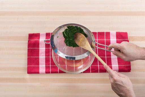 Cook & drain the spinach & basil: