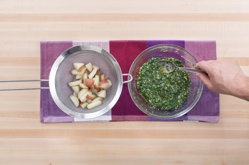 Cook the potatoes & make the pesto: