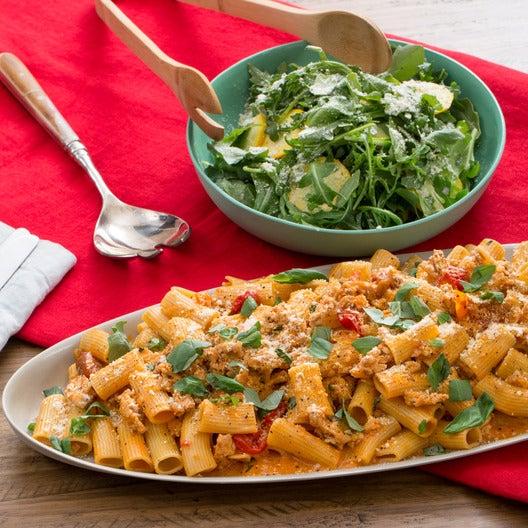 Chicken Bolognese & Rigatoni Pasta with Mascarpone Cheese & Summer Squash-Arugula Salad