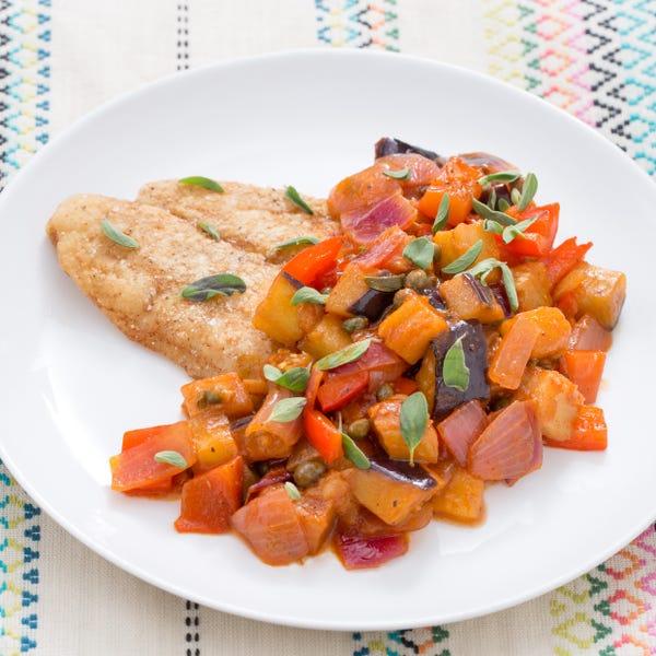 Crispy Catfish with Sicilian Eggplant Caponata