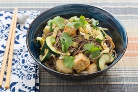 Soba Noodle Salad with Cucumber & Crispy Tofu