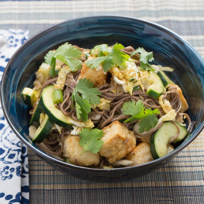 Soba Noodle Salad with Cucumber & Crispy Tofu