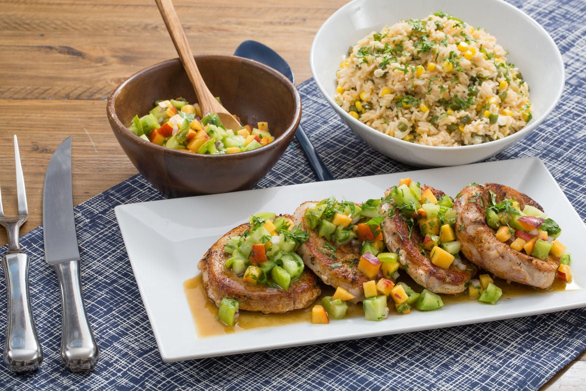 Pork Chops & Summer Vegetable Rice with Heirloom Tomato & Peach Salsa