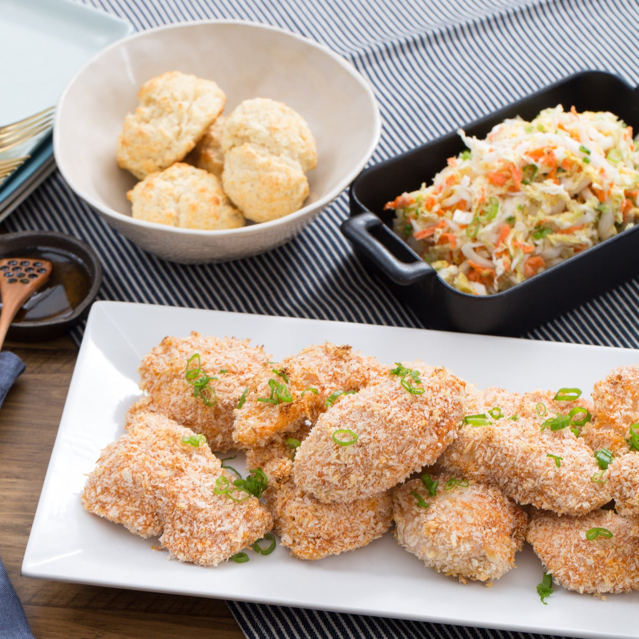 Oven-Fried Chicken with Coleslaw & Buttermilk Biscuits
