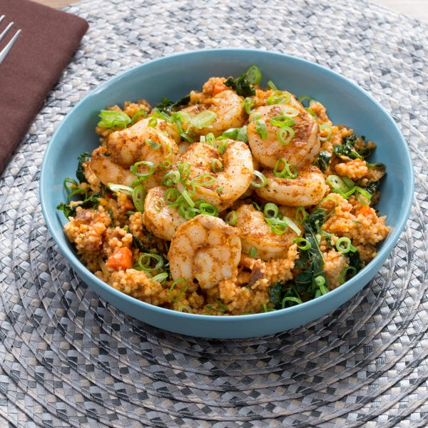 North African-Spiced Shrimp & Couscous with Dates, Kale & Carrots