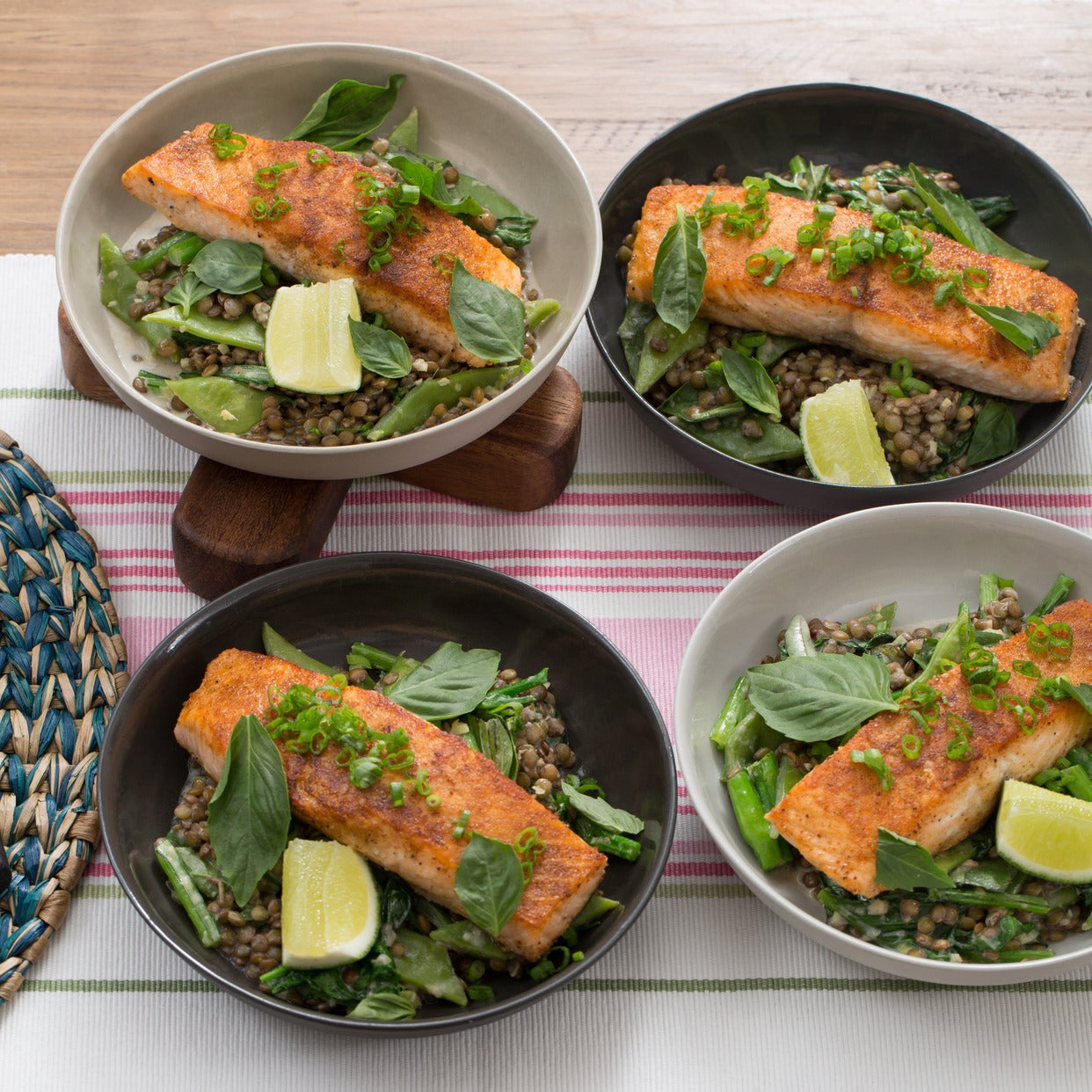 Thai-Spiced Salmon with Coconut Lentils, Romano Beans & Yu Choy