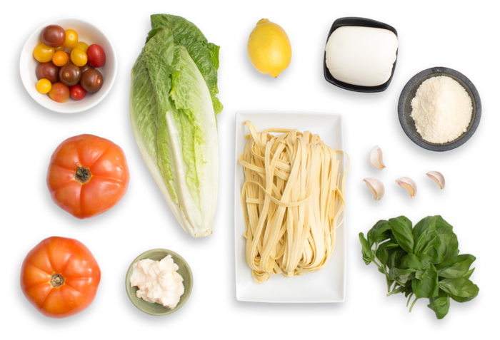 Fresh Fettuccine Pasta with Summer Tomato Sauce & Caesar-Style Salad ingredients
