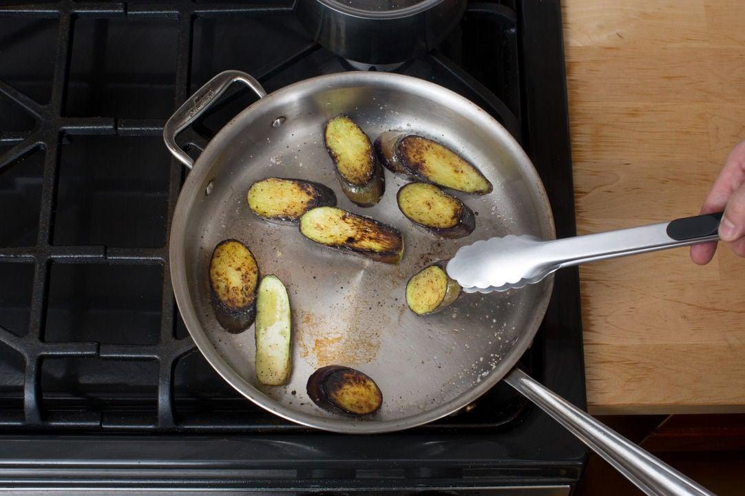 Cook the eggplant: