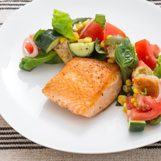 Seared Salmon & Panzanella with Corn, Shishito Peppers & Thai Basil