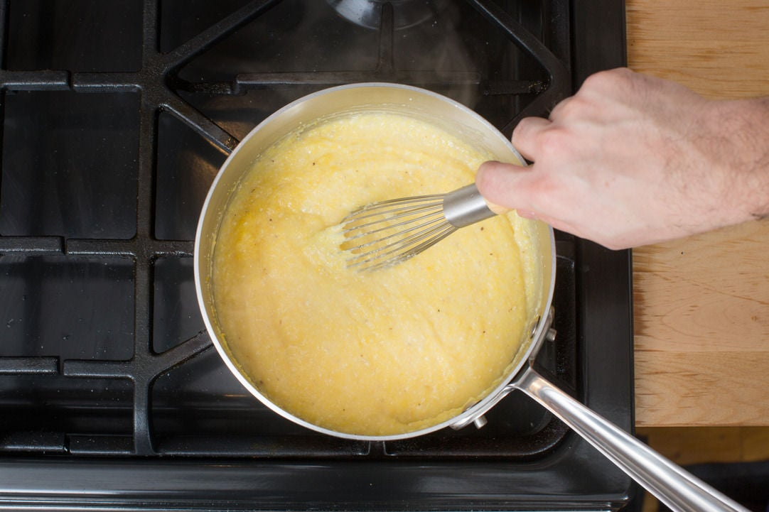 Make the Parmesan polenta: