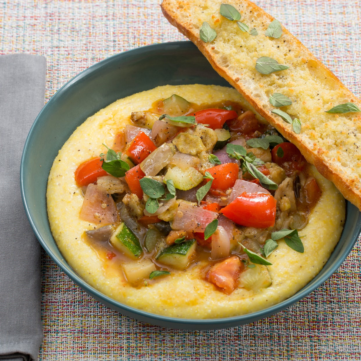 Summer Ratatouille & Parmesan Polenta with Heirloom Eggplant & Garlic-Cheese Toasts