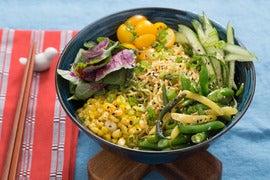 Cool Summer Vegetable Ramen with Fresh Ramen Noodles & Amaranth Leaves