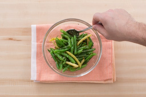 Blanch & dress the beans:
