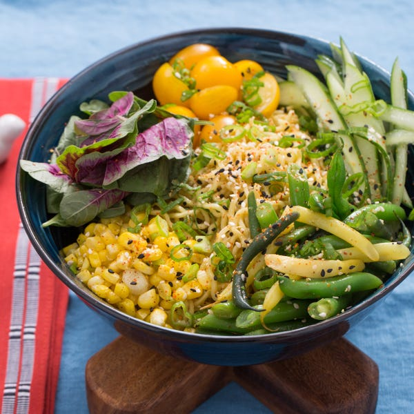 Cool Summer Vegetable Ramen with Fresh Ramen Noodles & Amaranth Leaves