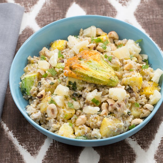 Summer Squash & Fennel Salad with Stuffed Squash Blossoms & Freekeh