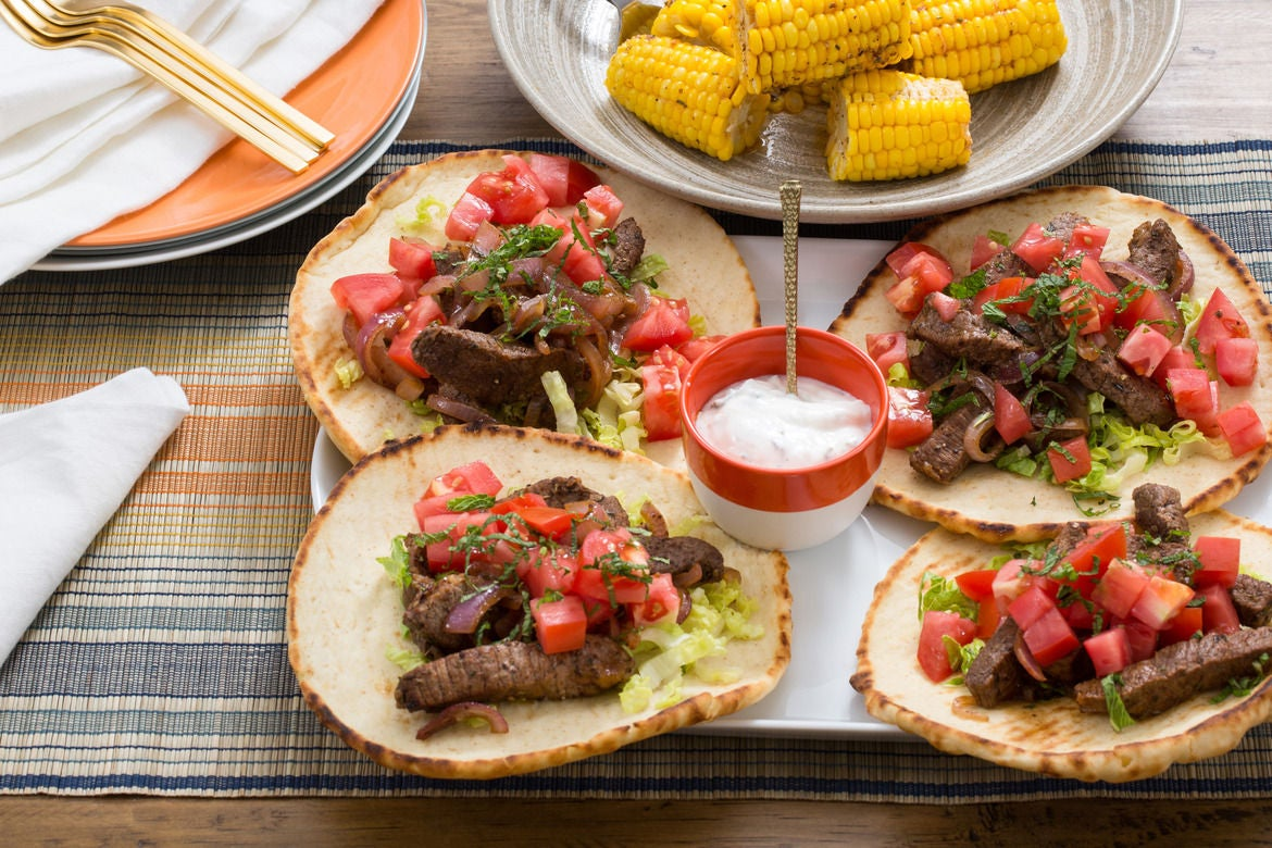 Steak Gyros & Corn on the Cob with Tzatziki Sauce & Spiced Butter