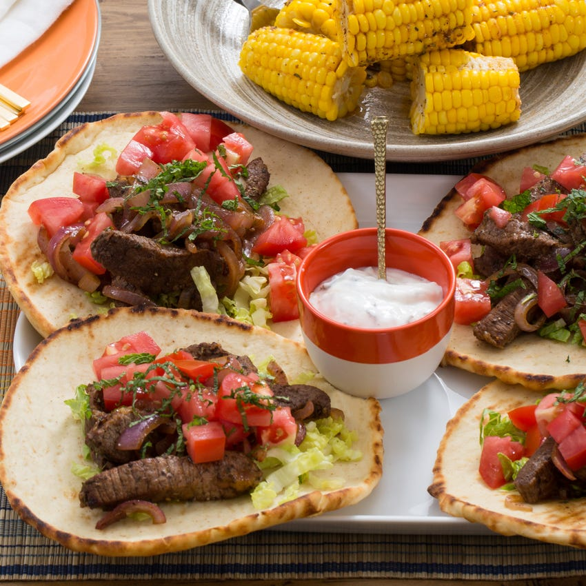 Recipe Steak Gyros Corn On The Cob With Tzatziki Sauce Spiced Butter Blue Apron