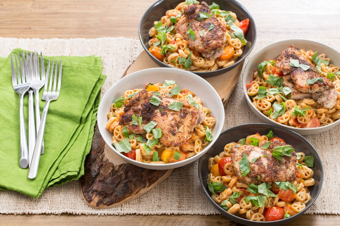 Chicken Thighs & Wheelies Pasta with Summer Tomato Sauce