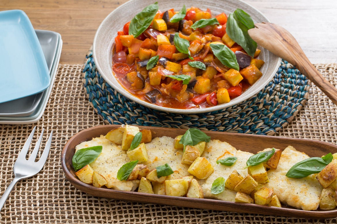 Cod & Summer Squash Ratatouille  with Roasted Potatoes