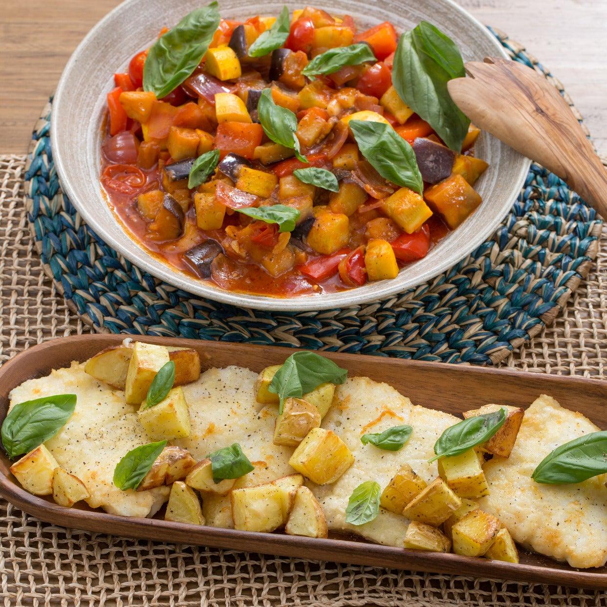 Cod & Summer Squash Ratatouille with Roasted Potatoes