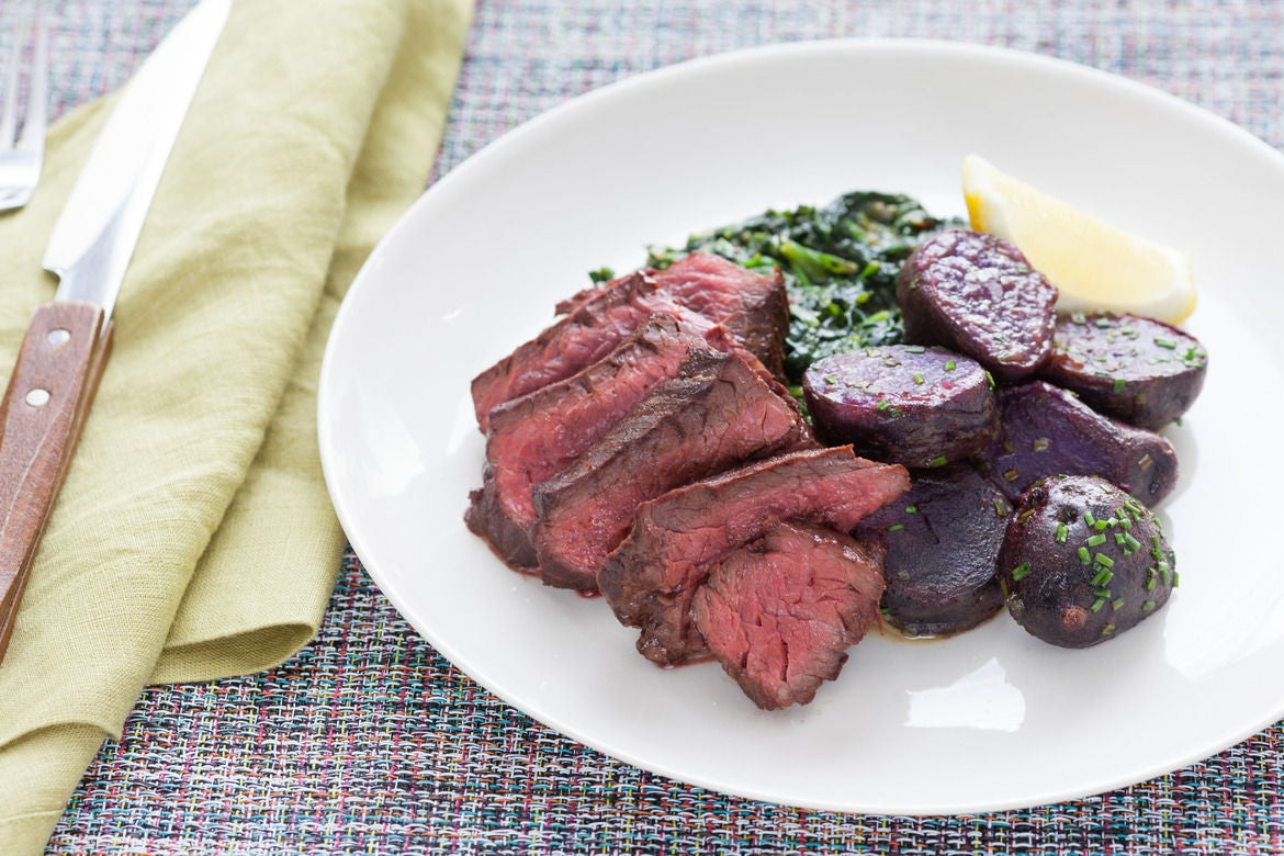 "Pan-Seared Steaks with ""Creamed"" Spinach & Lemon-Butter Purple Potatoes"