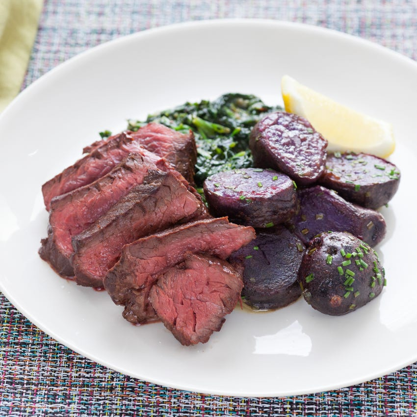 """Pan-Seared Steaks with """"Creamed"""" Spinach & Lemon-Butter Purple Potatoes"""