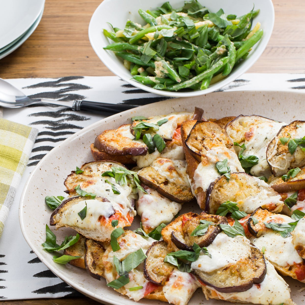 Eggplant French Bread Pizzas with Fresh Mozzarella & Summer Bean Salad