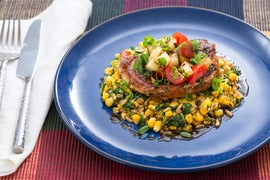 Seared Pork Chops & Kamut with Corn, Spinach & Stone Fruit-Cherry Tomato Salsa