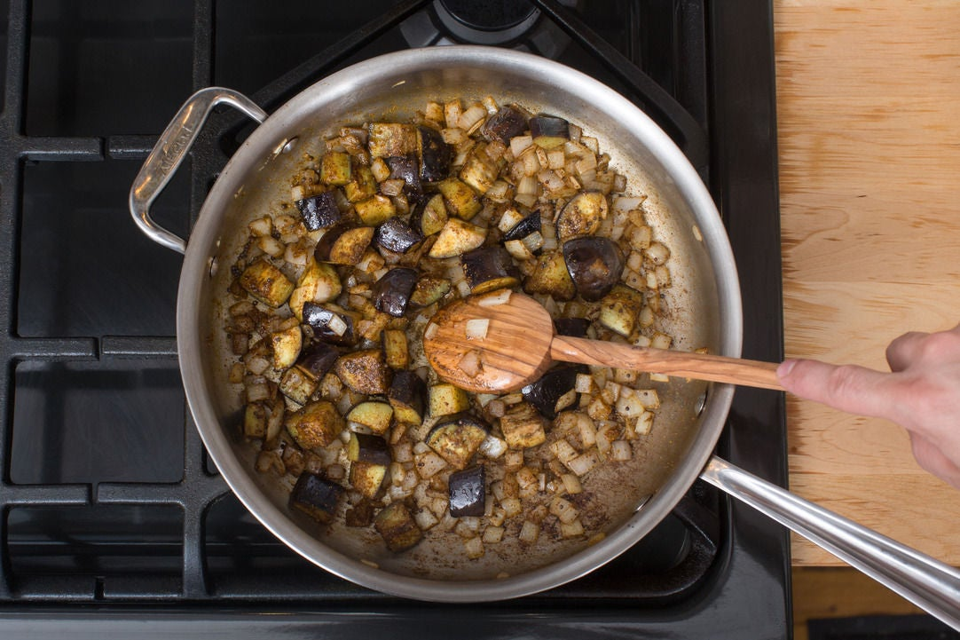 Cook the eggplant & onion: