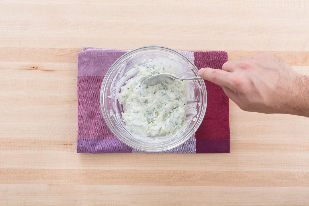 Make the cucumber-mint yogurt: