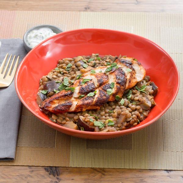 Tandoori-Spiced Chicken with Green Lentils, Heirloom Eggplant & Cucumber-Mint Yogurt