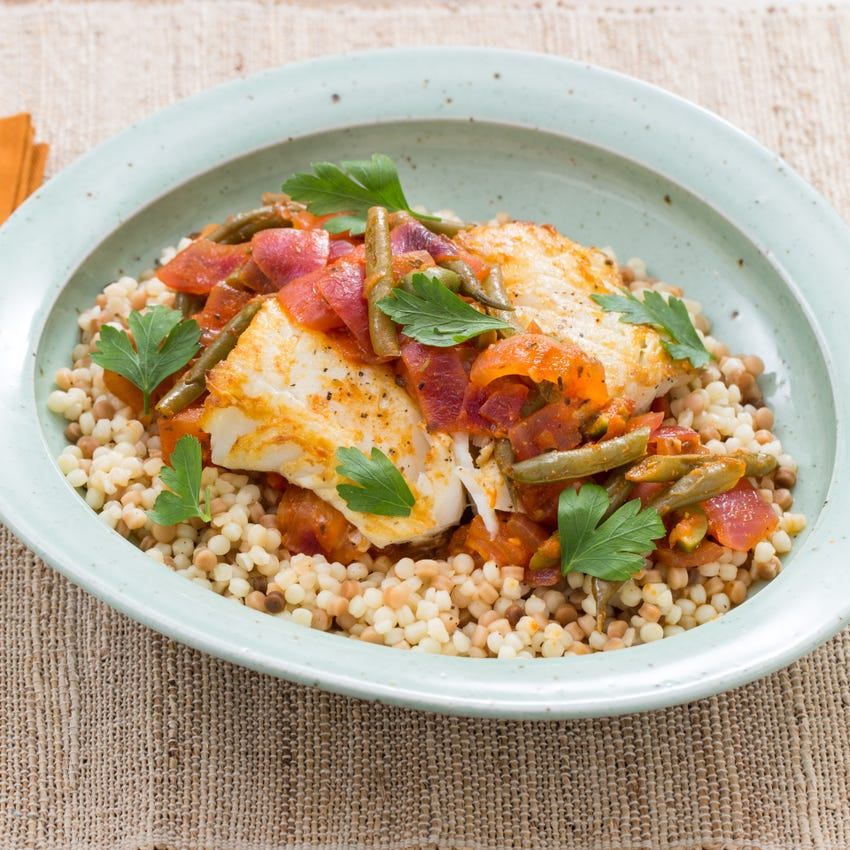 Seared Cod & Fregola Sarda with Braised Summer Vegetables