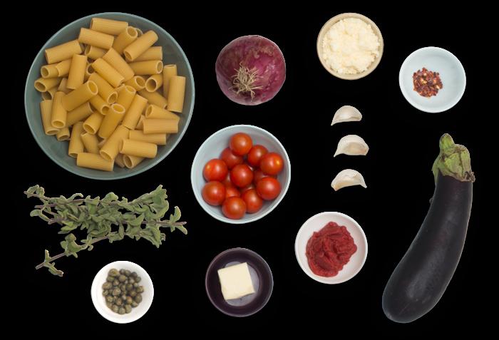 Rigatoni Puttanesca  with Eggplant & Fresh Oregano