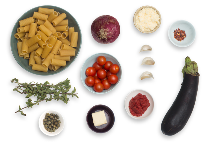 Rigatoni Puttanesca  with Eggplant & Fresh Oregano ingredients