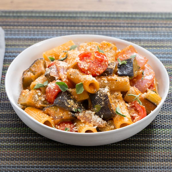 Rigatoni Puttanesca with Eggplant & Fresh Oregano