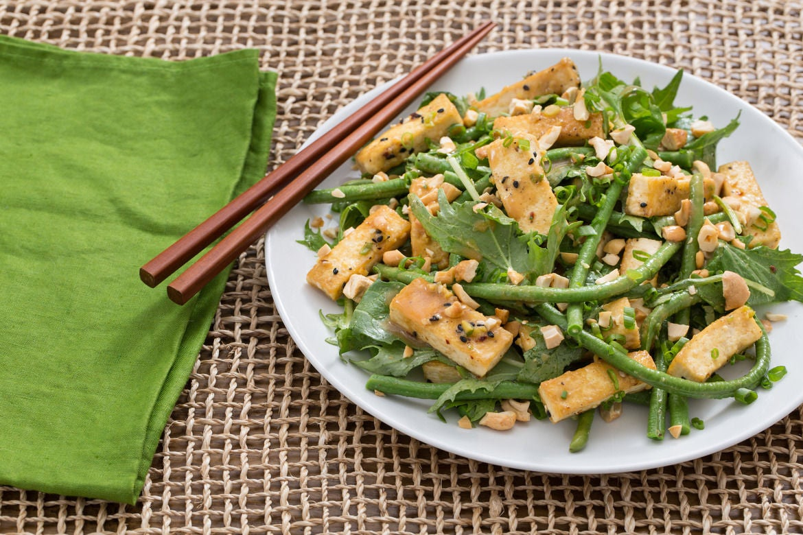 Cool Long Bean & Tofu Salad with Mizuna & Miso-Soy Vinaigrette
